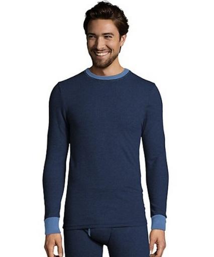 hanes men's 2-color fusion knit thermal crewneck men hanes
