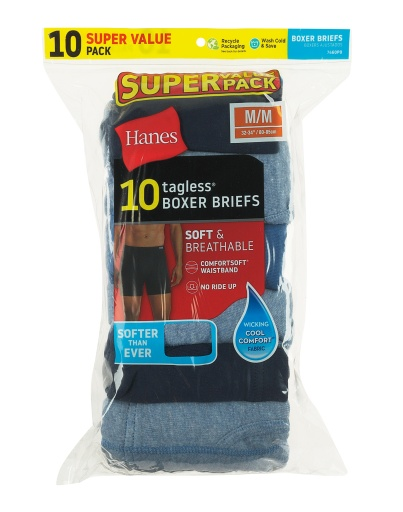 hanes men's freshiq® assorted blues boxer briefs with comfortsoft® waistband 10-pack men hanes