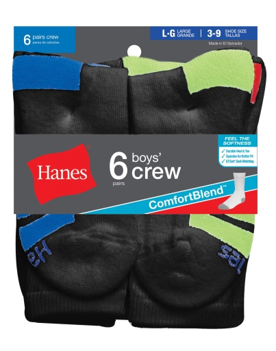 hanes boys' crew (size m and l) comfortblend black assortment socks 6-pack youth Hanes