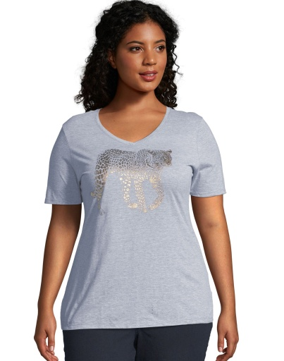 just my size gold leopard short sleeve graphic t-shirt women Just My Size