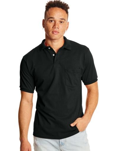 hanes men's cottonblend ecosmart® jersey polo with pocket 2-pack men hanes